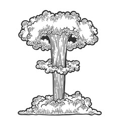 Nuclear bomb explosion engraving vector