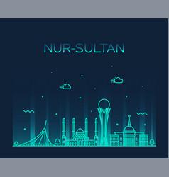 nur-sultan astana skyline kazakhstan a city vector image
