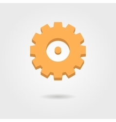orange gear icon with shadow vector image