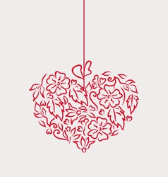 Ornamental heart in hand drawn style for Valentine vector image