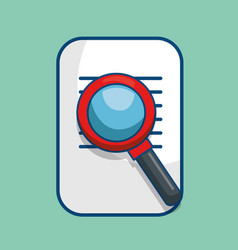 paper document with magnifying glass isolated icon vector image