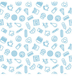 Pattern with fast food icons - seamless vector