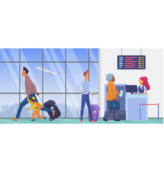 people in airport departure terminal wait to vector image