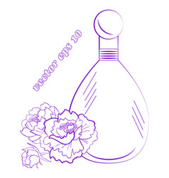 perfume bottle with peony flowers bud and leaves vector image