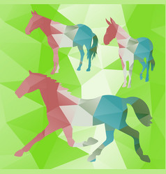 Polygonal horse collection vector