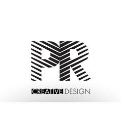 Pr p r lines letter design with creative elegant vector