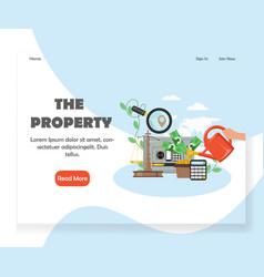 Property website landing page design vector