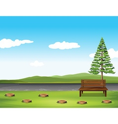 Public park with tree and bench vector