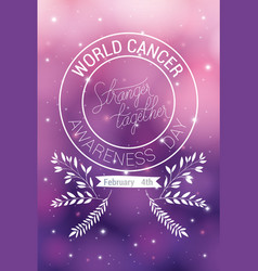 Purple ribbon and stranger together text world vector