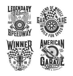 Racing sport motocross speedway t-shirt prints vector