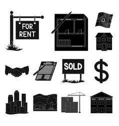 realtor agency black icons in set collection for vector image