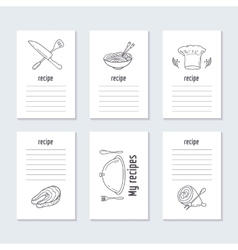 Recipe cards collection with hand drawn food vector image
