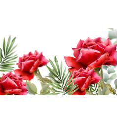 Red roses watercolor vintage floral frame decor vector