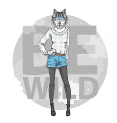 Retro hipster fashion animal wolf woman model vector