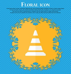 Road cone icon floral flat design on a blue vector