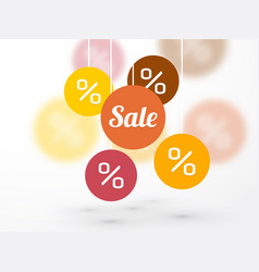 sale symbol percent discounts and blur icon on a vector image