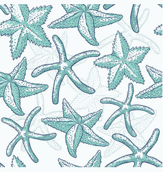 Seamless pattern starfish sea star vector