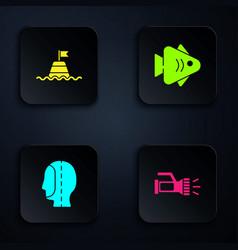Set flashlight floating buoy on sea diving vector