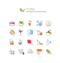 Set line icons food and drink vector