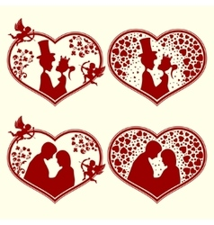 Set of silhouettes hearts vector