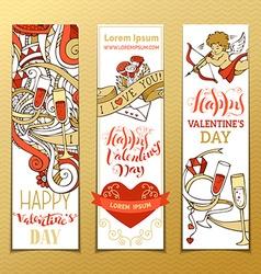 Set of vertical love banners vector