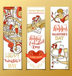Set vertical love banners vector
