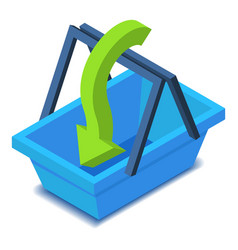 Shopping basket with arrow icon isometric style vector