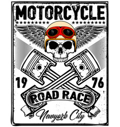 skull t shirt motorcycle logo graphic design vector image