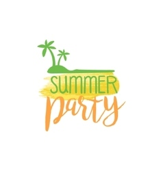 Summer party message watercolor stylized label vector