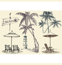 Summer set design elements sunbeds and beach vector