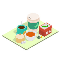 Tea time concept banner isometric style vector