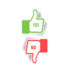 thumbs up and thumbs down yes and no like and vector image