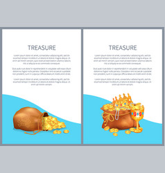Treasure hidden in bags royal crown and goblet vector