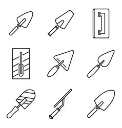 Trowel tool icons set outline style vector