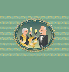 Vintage couple with champagne vector