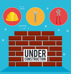 wall with under construction equipment vector image