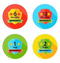 Warranty Flat Circle Icons Set 1 with Shadow vector image
