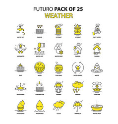 Weather icon set yellow futuro latest design icon vector