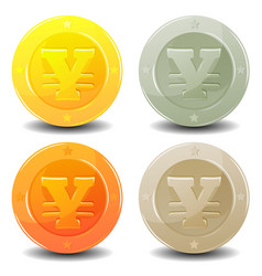 Yen coins set vector