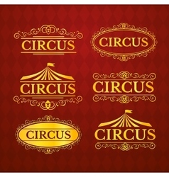 Circus vintage badges set vector image