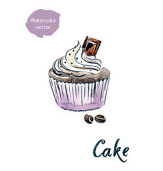 cupcake with chocolate vector image
