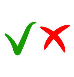 green check markapproval right choice red cross vector image vector image