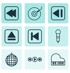 Set of 9 audio icons includes dance club extract vector