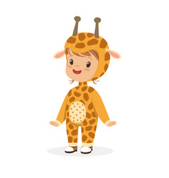 cute happy boy dressed as a giraffe kids carnival vector image vector image