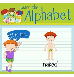 Flashcard letter n is for naked vector