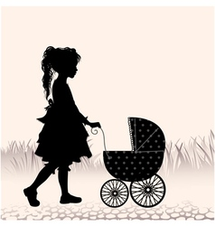 Girl with a stroller vector image