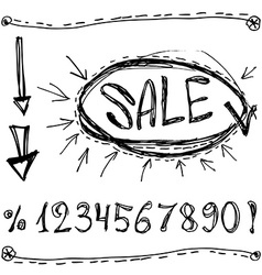 Sale numbers percentages arrows Sketched on a vector image