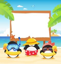Summer Penguins With Billboard vector image vector image