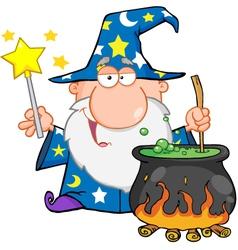 Wizard Waving With Magic Wand And Preparing A Poti vector image