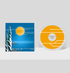 cd cover design template night coastal city moon vector image vector image